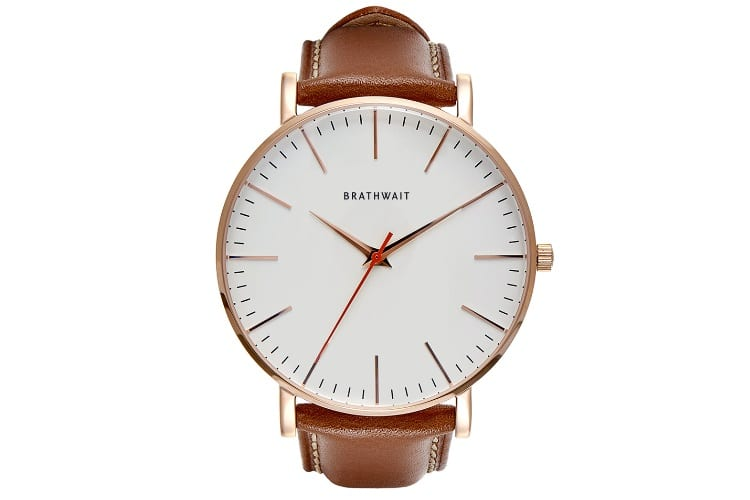 basic timepiece brathwait classic slim wrist watch with brown strap