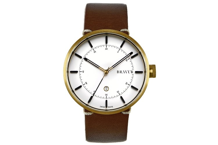white bravur bw002g w lbr1 watch with brown strap