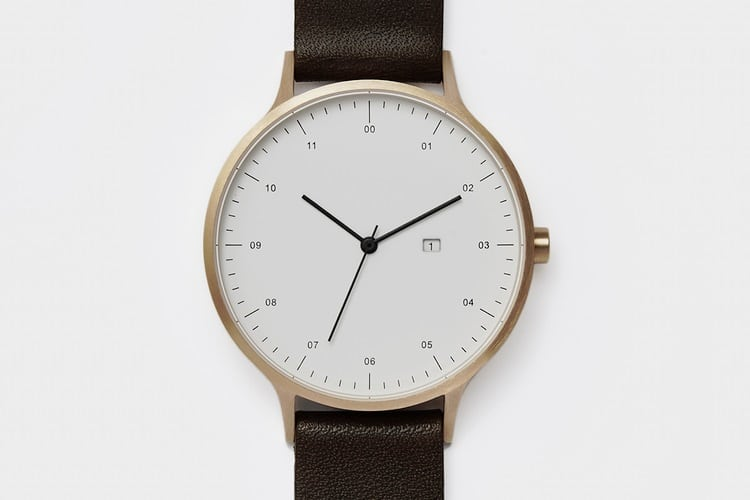 instrmnt 01 b watch blank white timepiece with brown strap