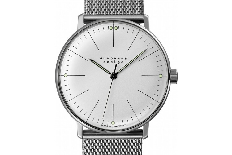 max bill manual lines junghans design silver watch