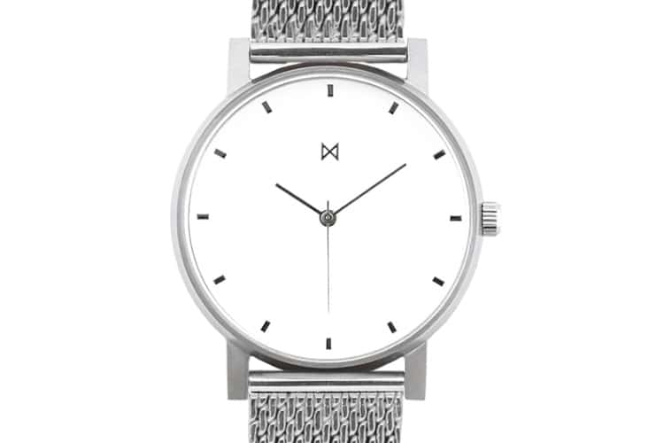 silver and white m1 minimalist watch under 200 dollars