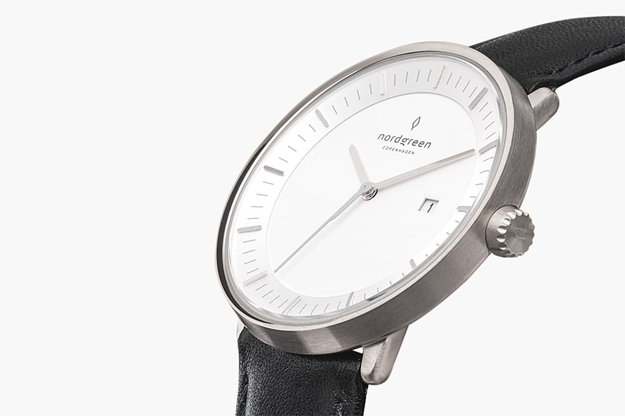 Nordgreen Philosopher Black Italian Leather Strap