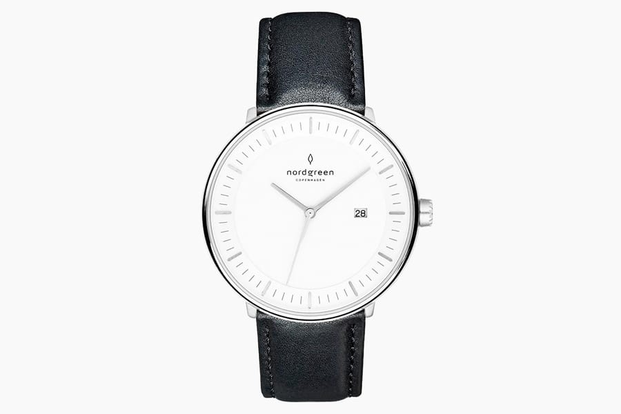 nordgreen watch black leather strap