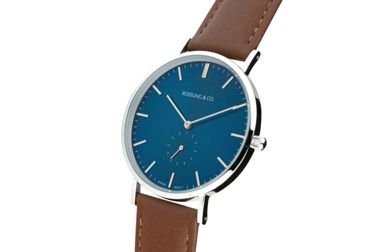 rossling and co classic westhill brown leather strap watch
