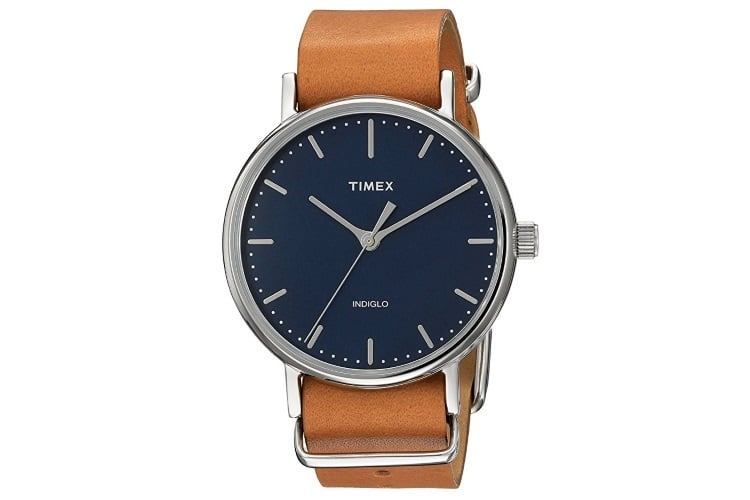 tan leather timex unisex weekender fairfield watch