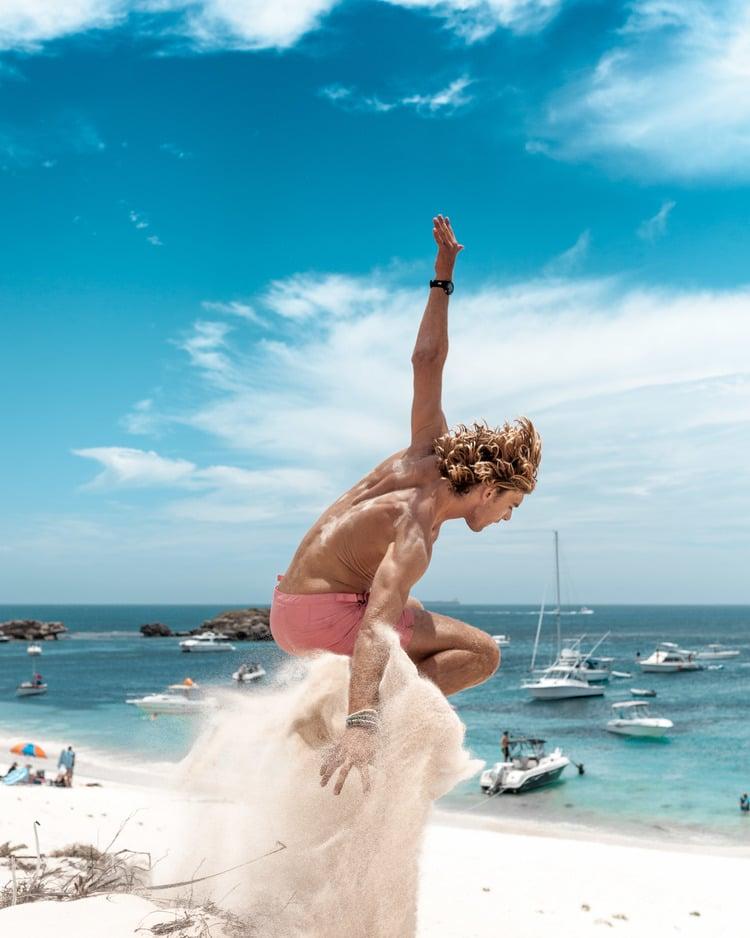 jump over sand