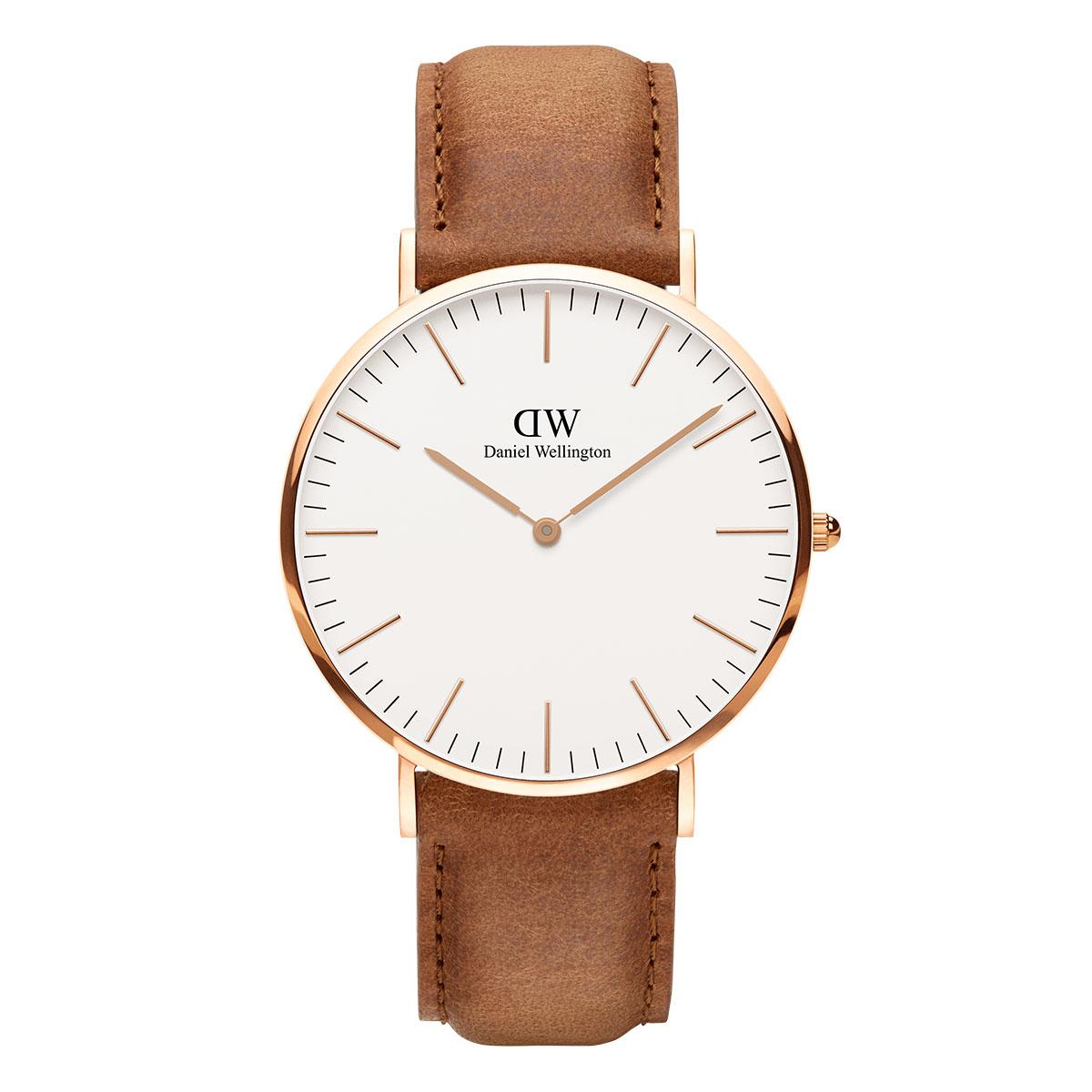 daniel wellington watch gold color with leather strap