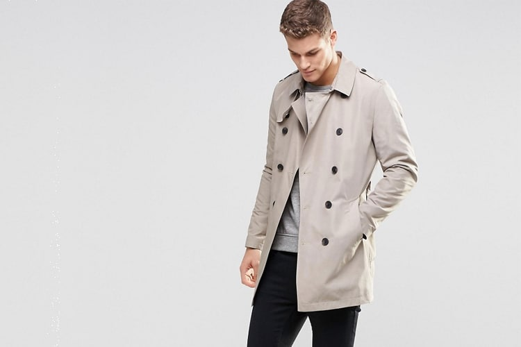 asos shower resistant trench coat