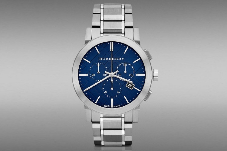 burberry chronograph blue dial stainless steel watch bu9363