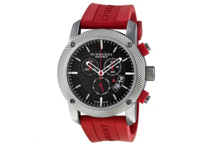 Burberry Sport Chronograph Black Dial Red Rubber Mens Watch BU77061