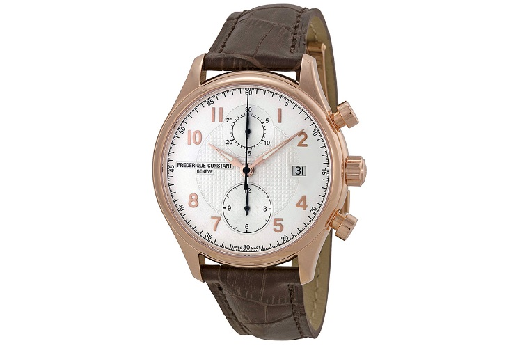 frederique constant fc393rm5b4 brown leather watch