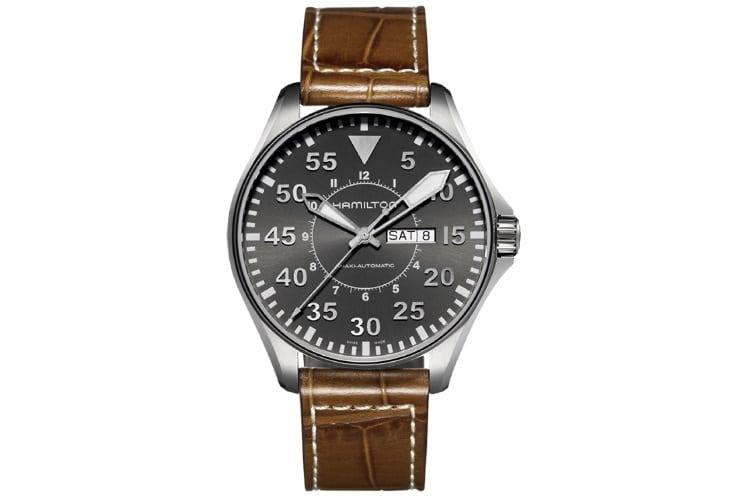 hamilton men h64715885 khaki pilot grey dial watch