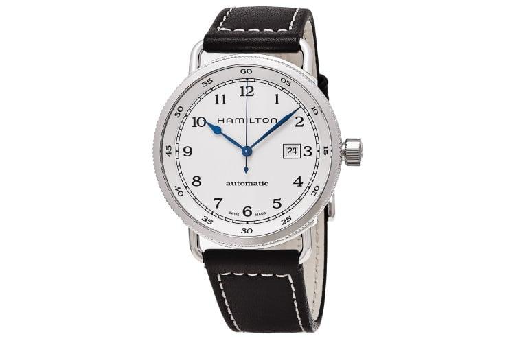 hamilton men h77715553 khaki navy white dial