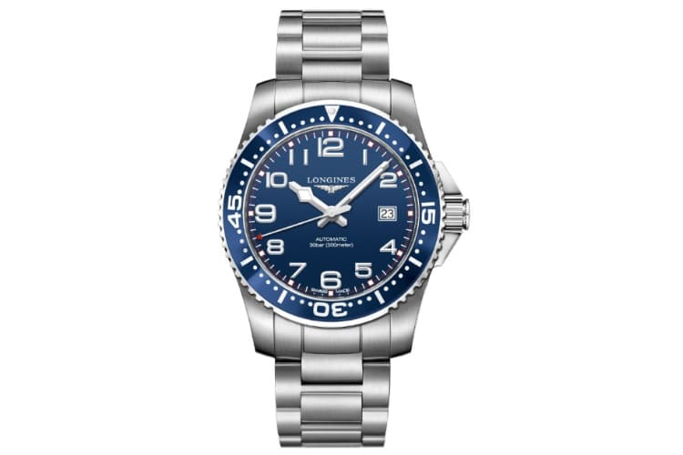 longines hydroconquest blue dial stainless steel watch