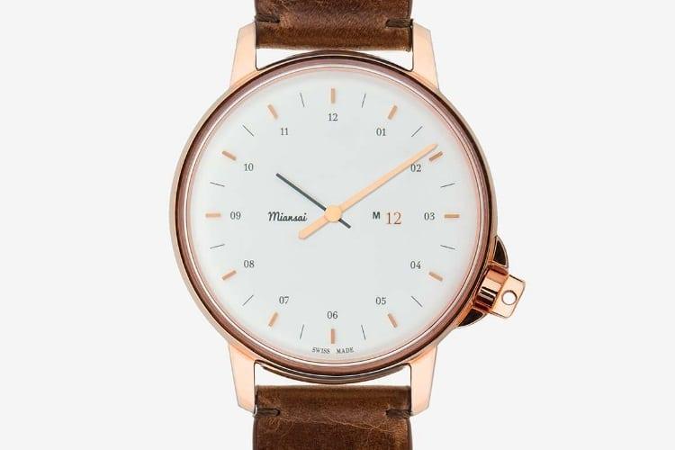 miansai m12 swiss rose gold and white watch