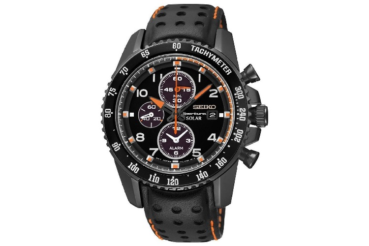 Seiko Sportura Solar Chronograph Black Dial Black Leather Strap