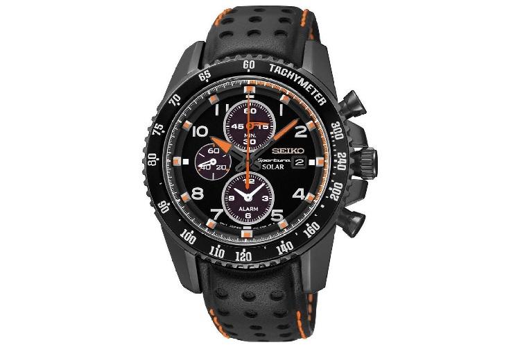 seiko sportura solar chronograph black leather strap