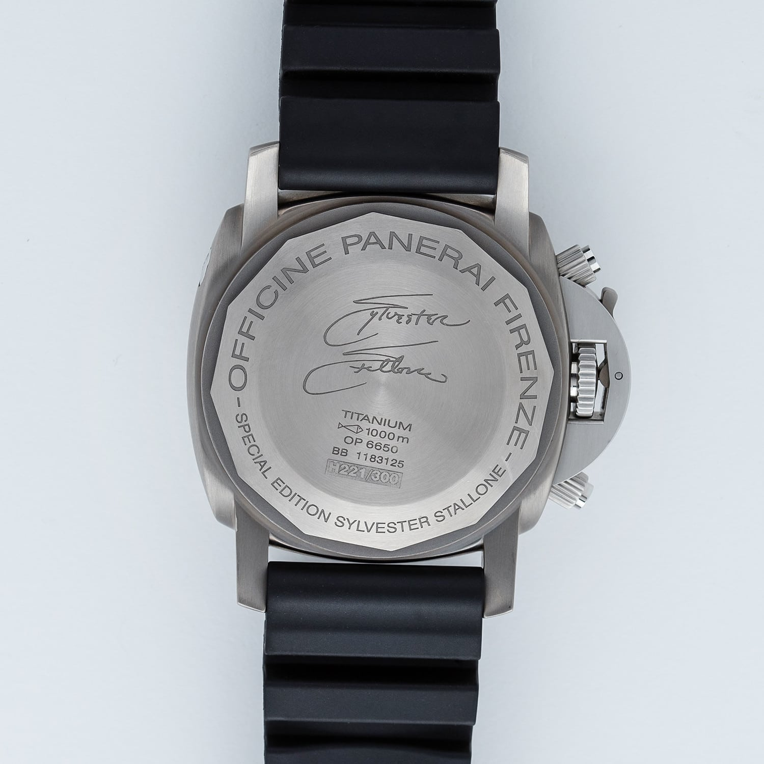 panerai analog watch back side