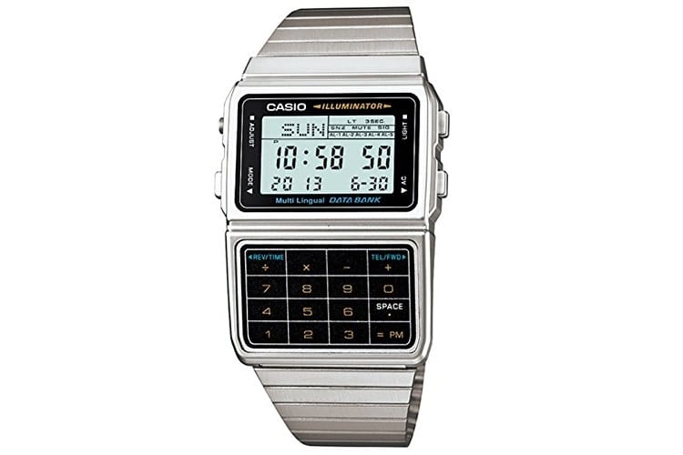 casio silver watch with calculator