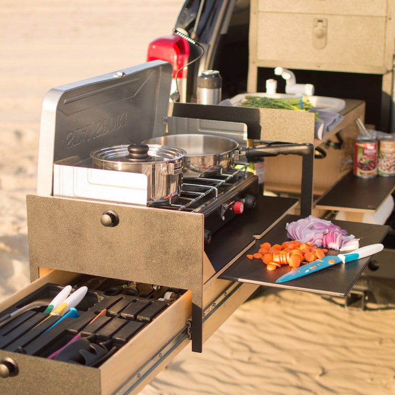 overland kitchen fits into the back of some 4x4 models