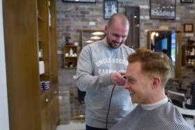 haircut & whisky shop