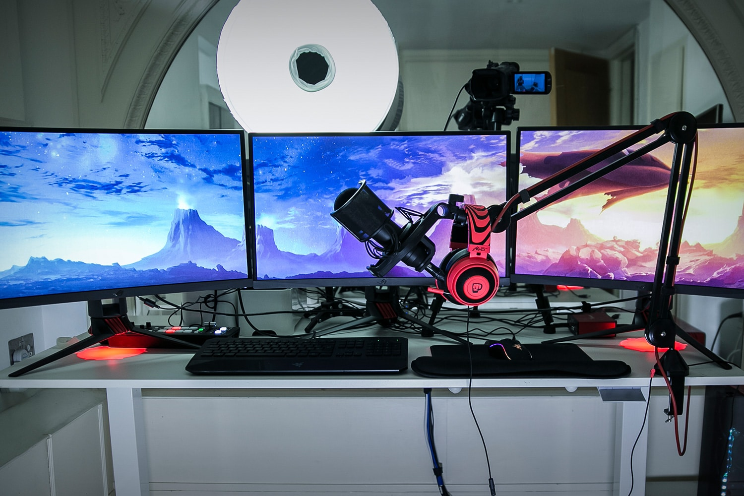 pewdiepie camera desk setup studio