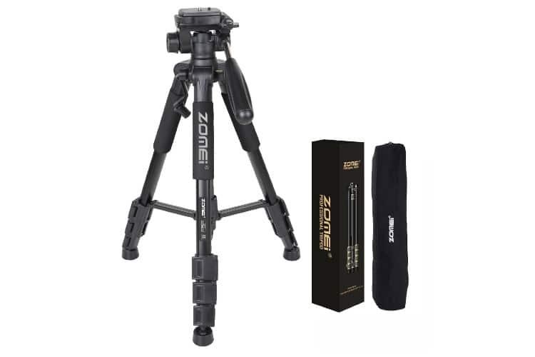 zomei q111 55 inch aluminium camera tripod setup