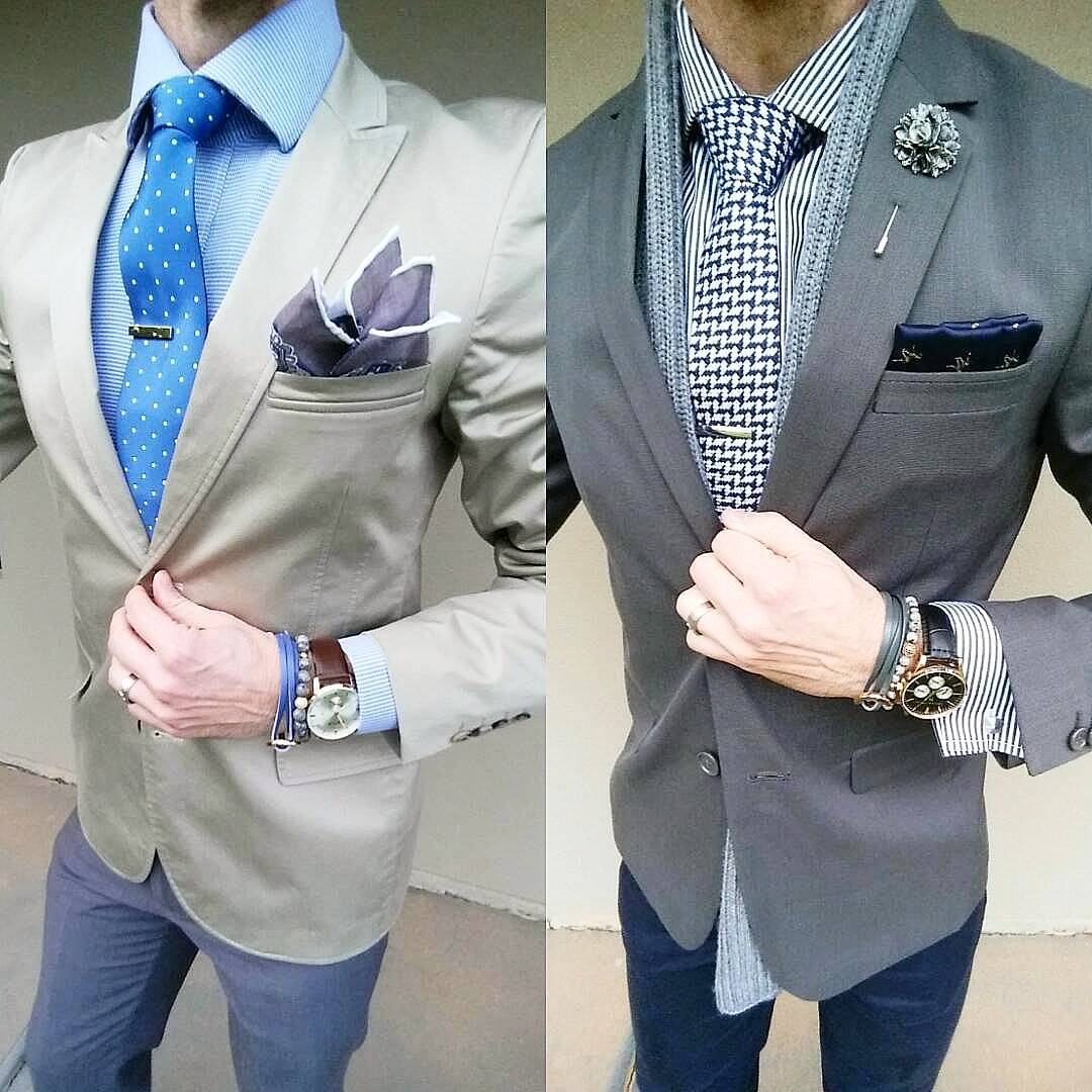 different coloured pocket square