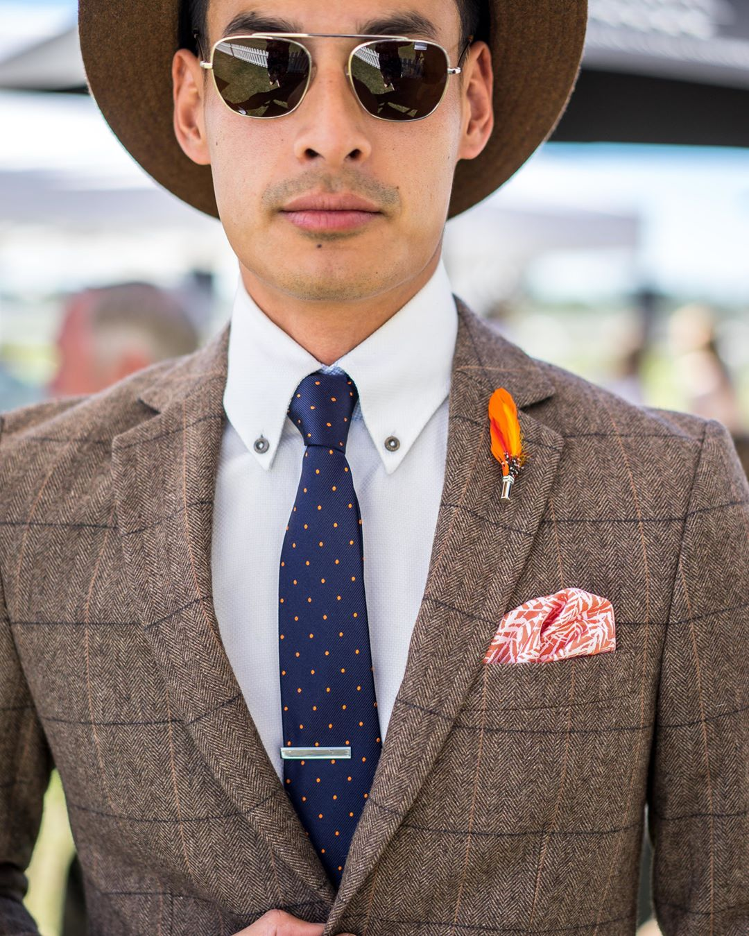 two main pocket square in suit