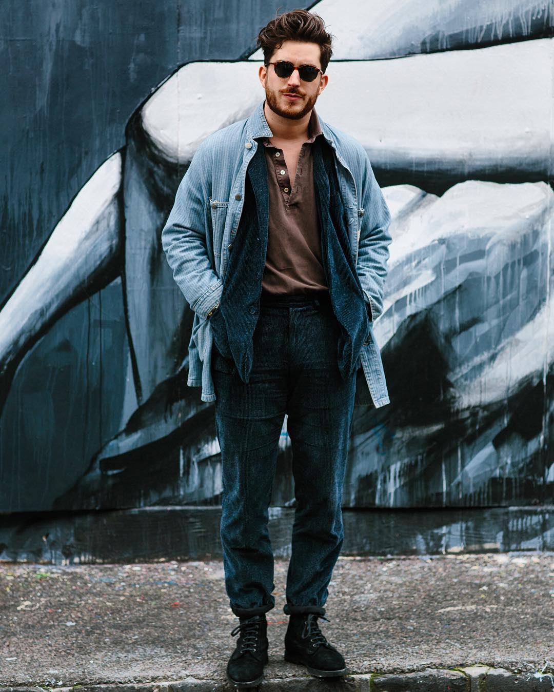 men pose jeans with sun glass