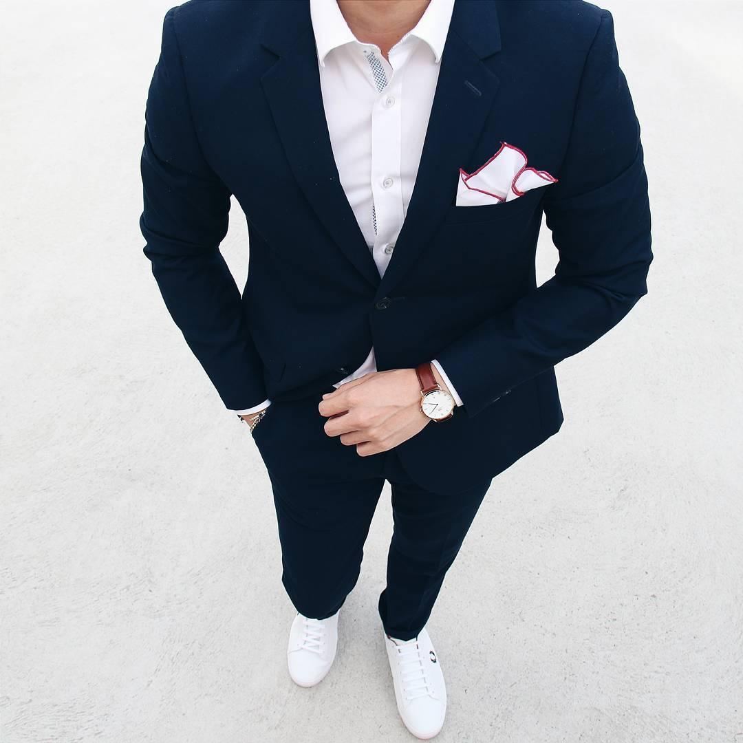 solid pocket square for a plain suit