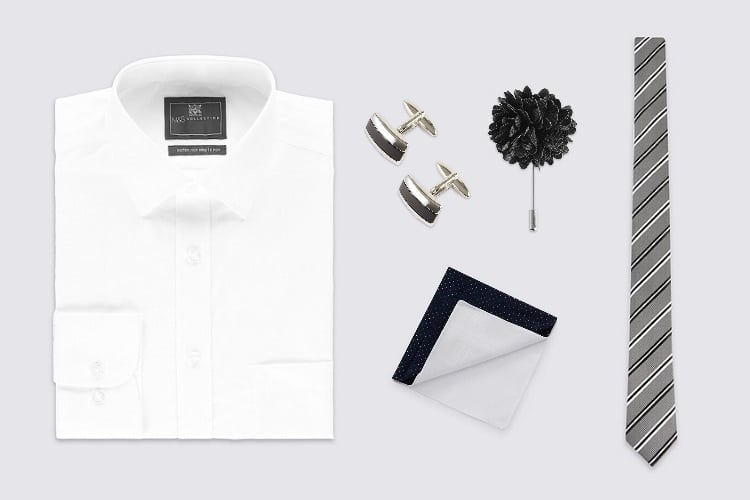 flat lay black and white