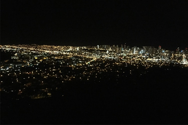 honolulu by night reminiscent of any major cityscape