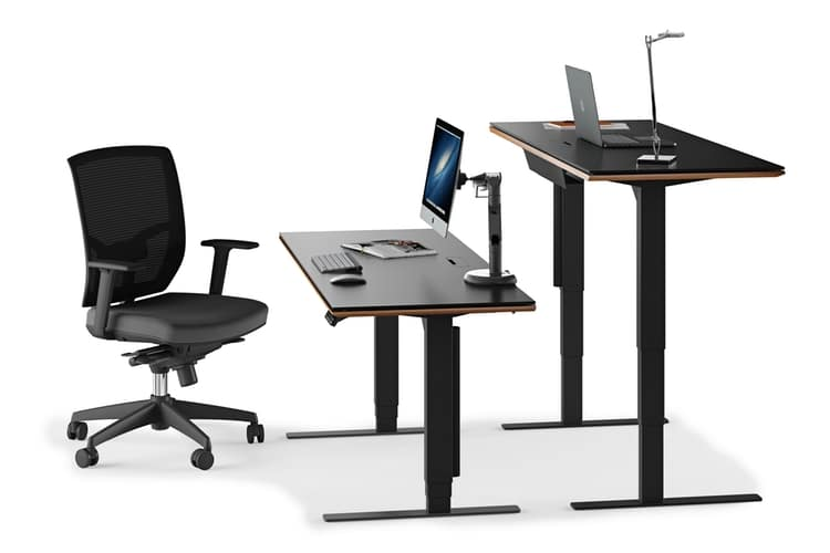 different size of bdi sequel standing desk with chair