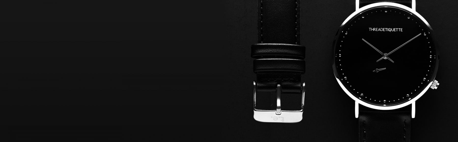 thread etiquette watch black with strap