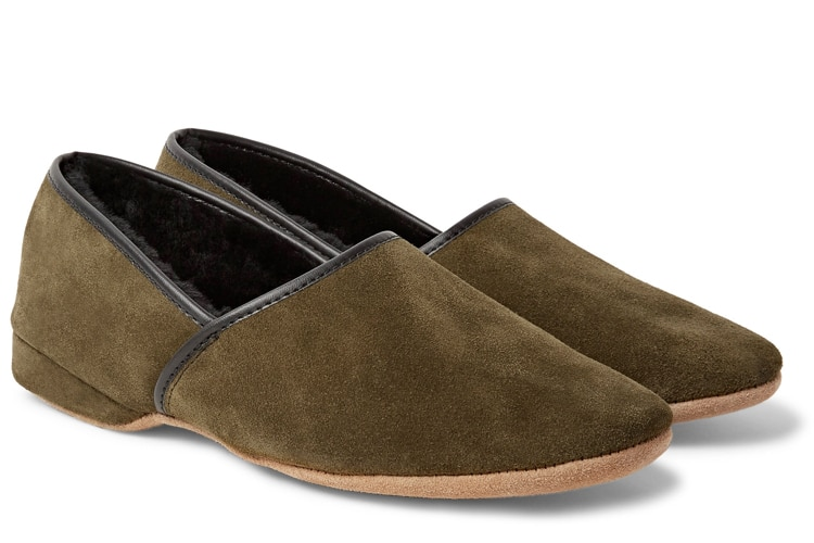 christmas gift guide crawford shearling lined suede slippers