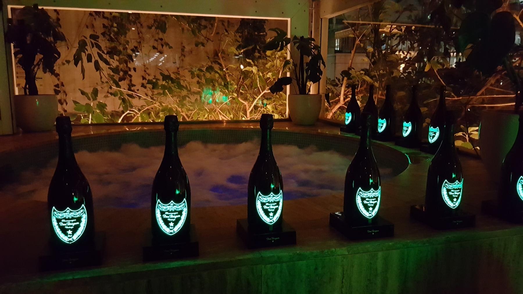 dom perignon luminous glowing bottle night