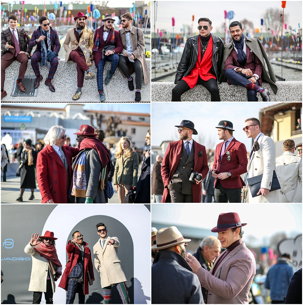 pitti uomo 91 deep red color coats