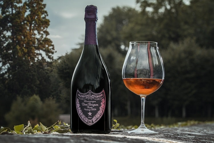 dom perignon luminous glowing bottle and glass