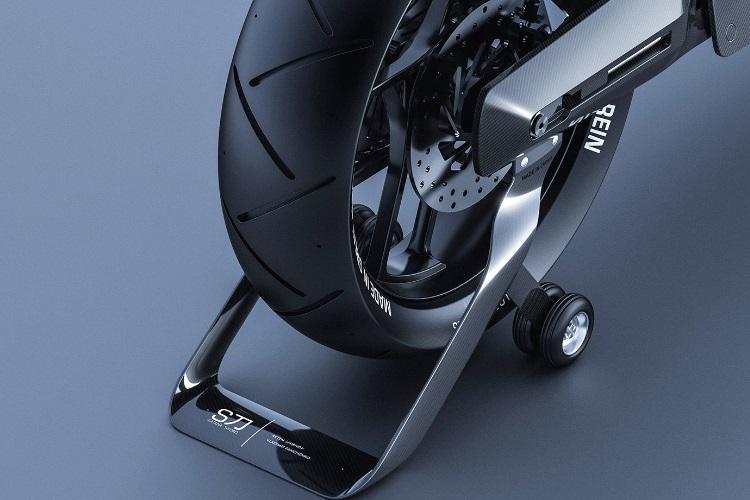 siv katana motorcycle on stand wheel