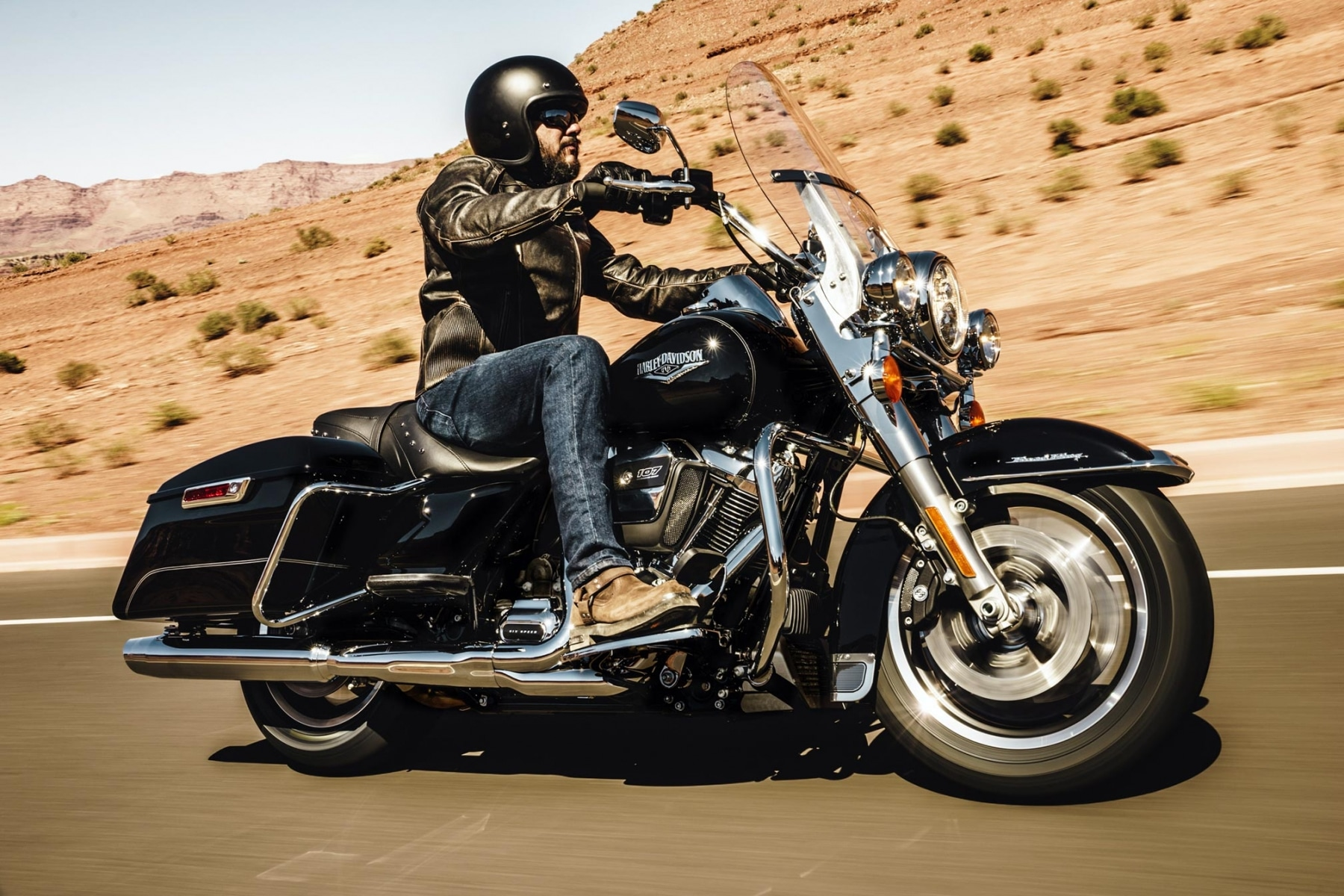 harley davidson road king motorcycle on the road
