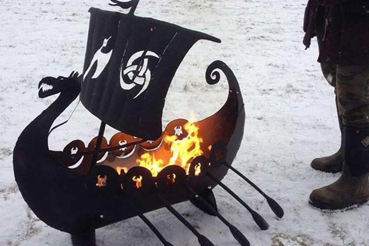 the awesomer viking ship fire pit