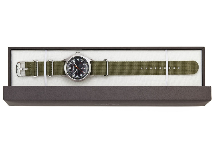 timex military watch in the case