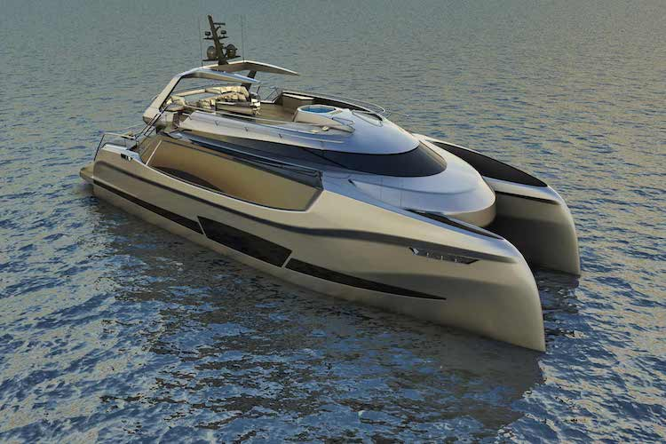 ego superyacht catamaran concept front and side