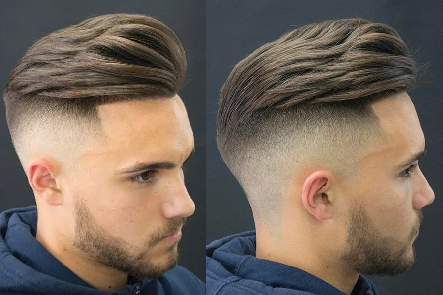 Man with short slick back haircut pompadour hairstyle