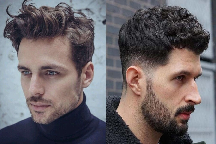 Men with messy short haircut curly hairstyle
