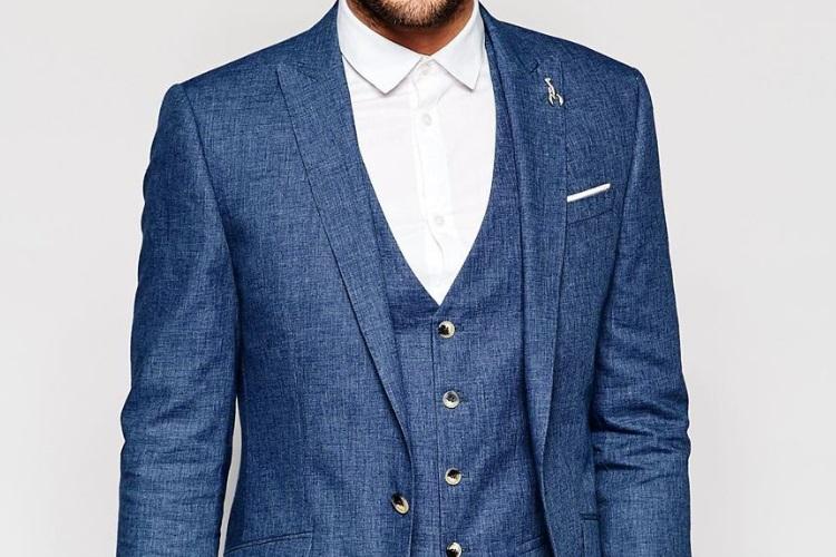 accessorize blue linen suit