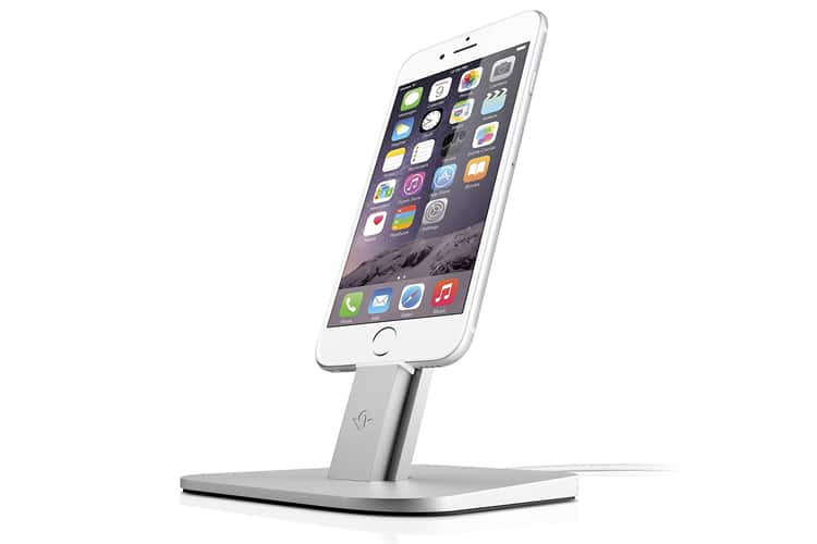 sleek and silver tech iphone charging stand