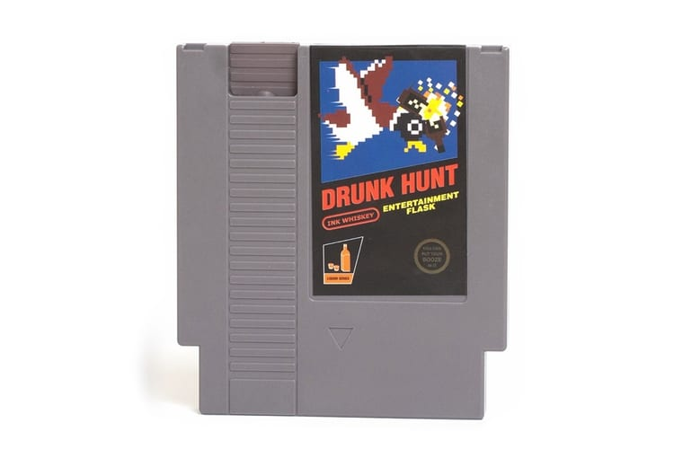 drunk hunt video game cartridge flask
