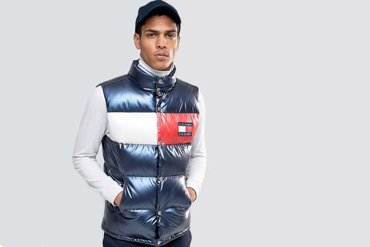 tommy jeans 90s down puffer singlet in navy